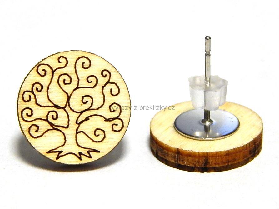 e75b0550c Topolky, dřevěné náušnice, puzetka, spirála strom života | Tvořivé ...