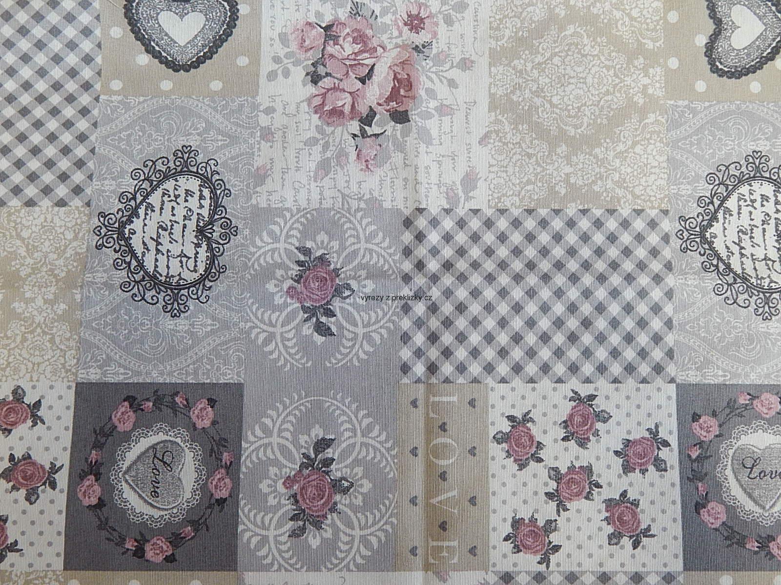 5968c2601 Látka, patchwork, srdce, květy, čtverečky, šedá, béžová | Tvořivé ...